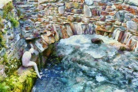 lonesome: Figure sitting under the bridge painting