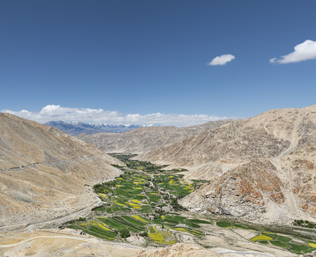 valley view: Verde vista sulla valle con alte montagne sfondo Archivio Fotografico