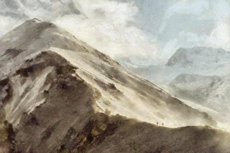 himalaya: People hiking in Himalaya illustration Stock Photo