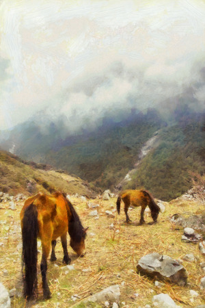 Horses feeding in cloudy mountains illustration illustration