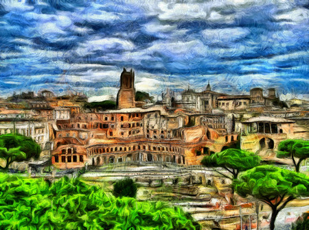 ruins: Impressive painting of Rome ruins landscape