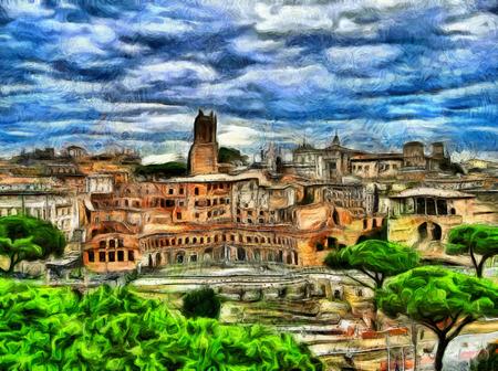 impressive: Impressive painting of Rome ruins landscape