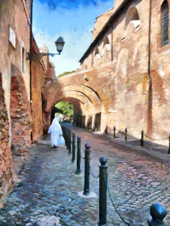 going down: Nun in white going down by street in Rome painting Stock Photo