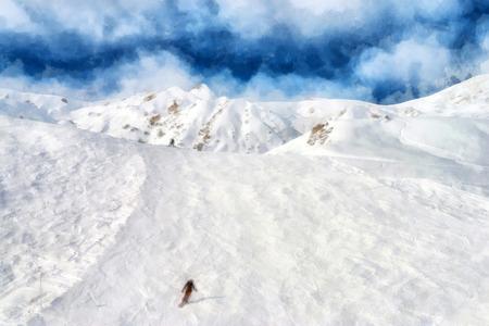 piste: Alpine skier downhill at winter resort among white snow
