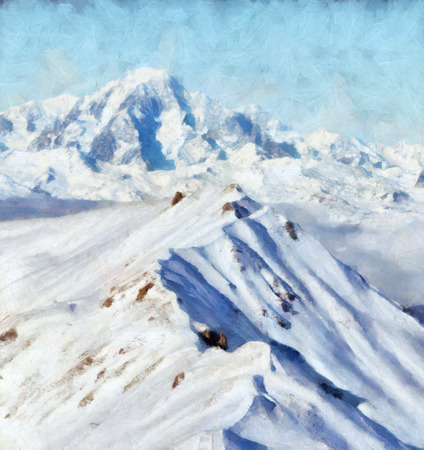 knap: Snow mountain ridge in French Alps Painting