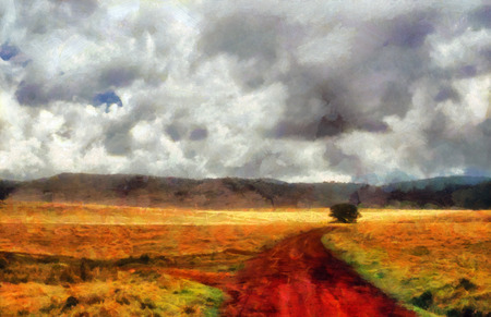 red clay: Red clay road and tree painting