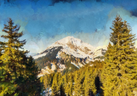 softwood: Winter alpine mountain landscape painting