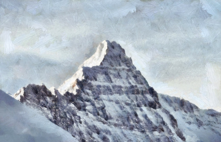 rocky: Rocky mountain peak in French Alps painting