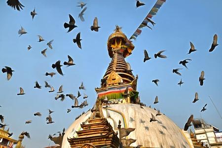 buddhist stupa: Buddhist stupa with flying birds at Kathmandu square painting