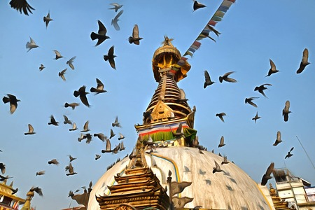stupa: Buddhist stupa with flying birds at Kathmandu square painting