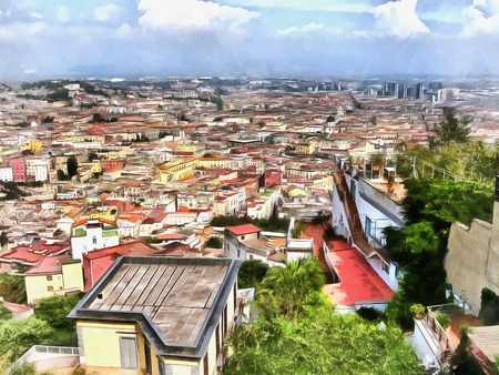 naples: Naples city panoramic aerial roof view Painting