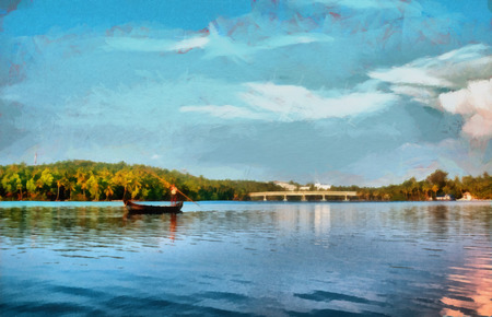 kerala: Lonely man on boat at backwaters of Kerala in India Oil Painting style illustration
