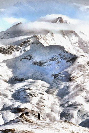 Person standing at the bottom of Alpine summit at winter with clouds on top illustration illustration