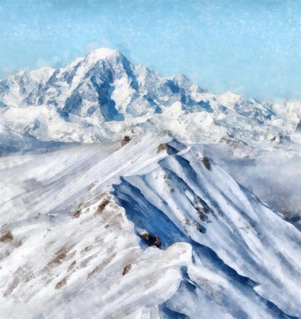 ridge: Snow mountain ridge in French Alps Painting