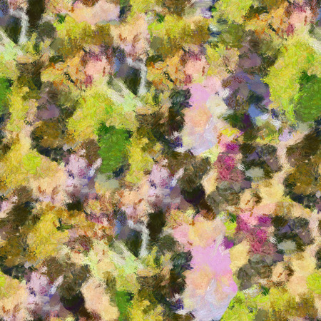 monet: Yellow green lilac abstract seamless pattern oil strokes texture painting Stock Photo