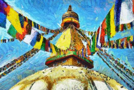stupa: Buddhist stupa Boudnath in Kathmandu colorful oil painting