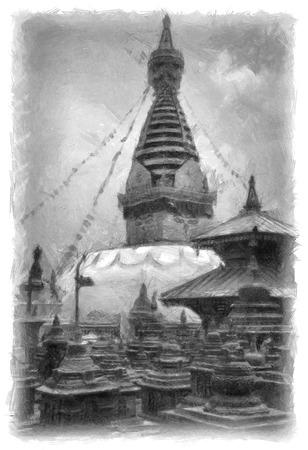 stupa: Buddhist stupa in Kathmandu Nepal pencil drawing