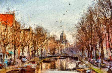朝の印象派の絵で、アムステルダムの運河