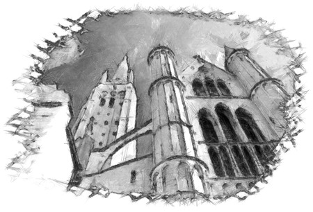 Brugge church architecture sketch pencil drawing