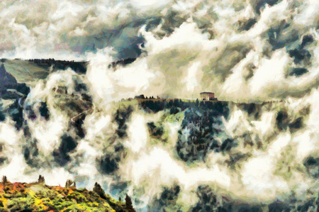 House among clouds mystic fairy landscape oil painting photo