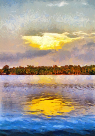 backwaters: South India backwaters landscape oil painting