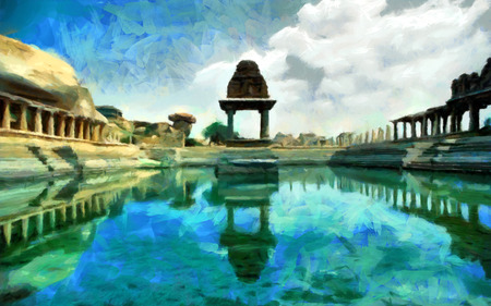 Hampi ancient temple reflected in pond water painting