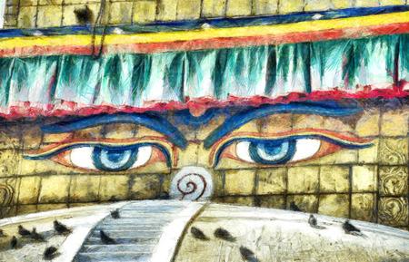 stupa: Buddhas eyes on Boudnath stupa in Kathmandu color pencil drawing