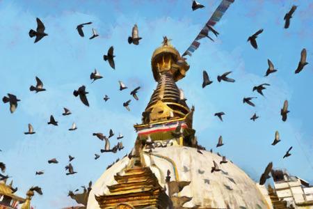 stupa: Birds flying above buddhist stupa in Kathmandu Nepal oil painting Stock Photo
