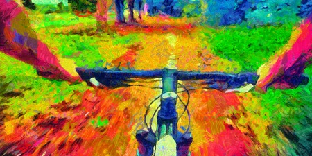 Bicycle ride pov acid colors psychedelic painting