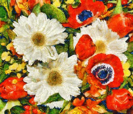 絵画花春の花束