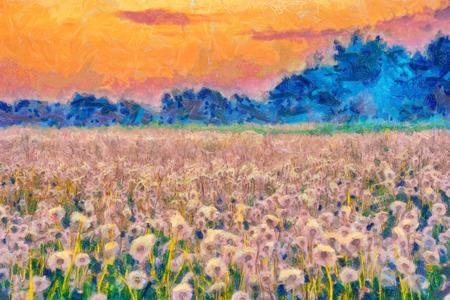 夏の草原打撃ボール風景画
