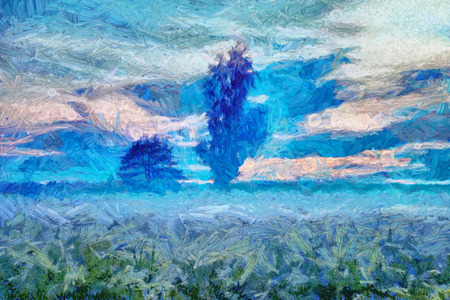 Mystical foggy meadow and trees landscape - oil painting photo