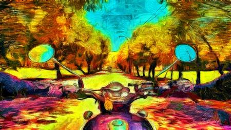 オートバイに乗るサイケデリック アート絵画 写真素材 - 39969525