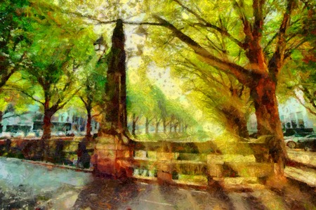 oil park: Town park canal in Dusseldorf landscape oil painting Stock Photo