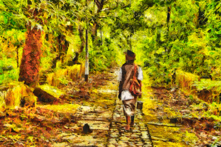 street painting: Indian Sadhu walking among jungle with abandoned ruines oil painting Stock Photo