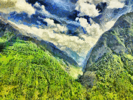 himalaya: Oil painting - Mountain Himalaya landscape with green forest
