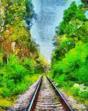 forest railway: Railway among green summer forest oil painting