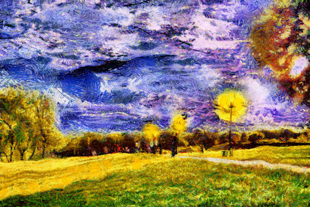 oil park: Strolling people at starry night park oil painting Stock Photo