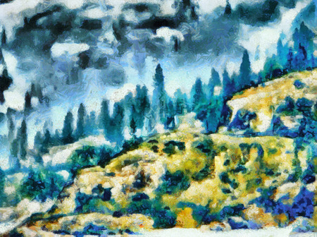 Blue and yellow mountain forest landscape impressionist oil painting