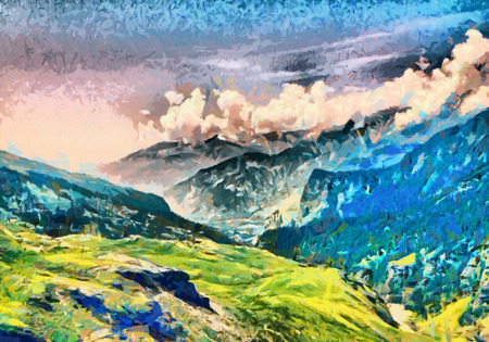 amazing: Bright green morning at Himalaya mountains oil paintings