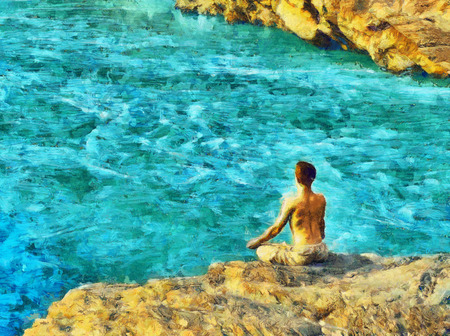 sitting meditation: Guy sitting at the edge of rock meditation oil painting