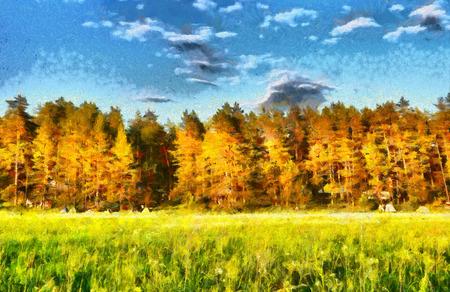 yellow landscape: Autumn forest landscape impressionist oil painting