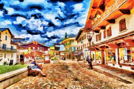 nice france: Small european town tourists square oil painting