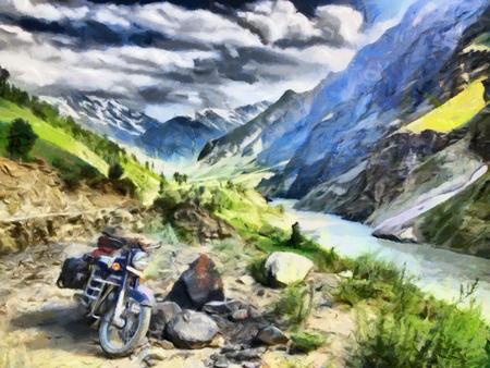 himalaya: Motorcycle adventure at Himalaya mountains oil painting