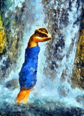sotto la pioggia: Giovane ragazza in piedi sotto la doccia di corrente a cascata in pittura a olio blu vestito