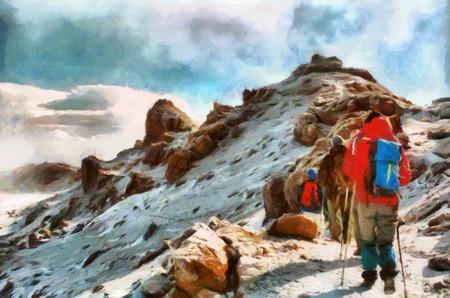 キリマンジャロ山の雪の中でハイキング登山者のグループ
