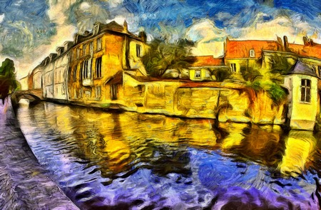 ブルージュ運河と建物の色鮮やかな油彩画と