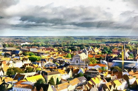 viewpoint: Medieval town aerial landscape in Bruges Illustration Stock Photo