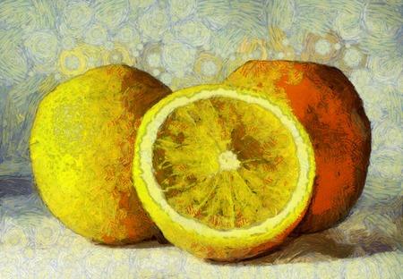 白地油絵オレンジ フルーツ 写真素材