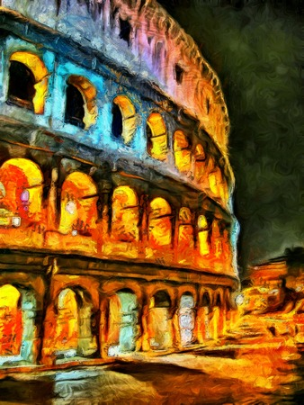 colosseo: Colorful illumination of Colliseum at night painting